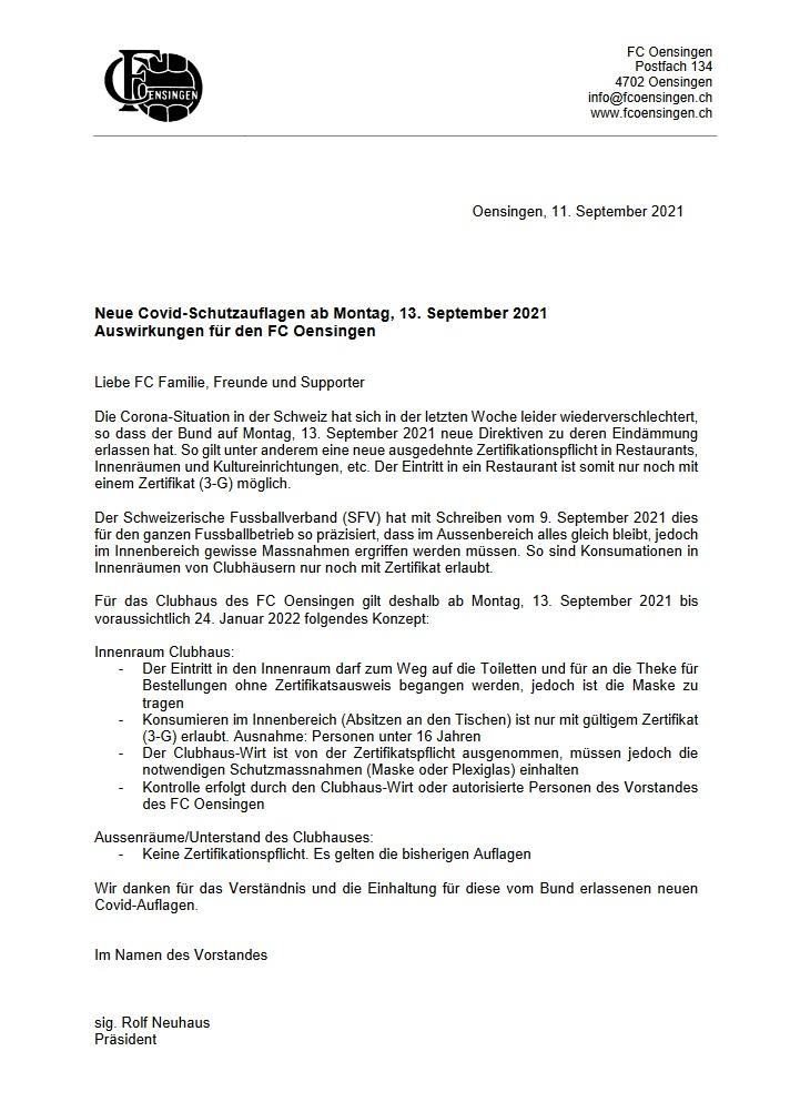 Covid-Schutzauflagen 13.09.2021